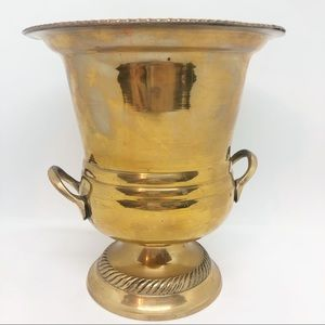 Vintage Footed brass planter TALL
